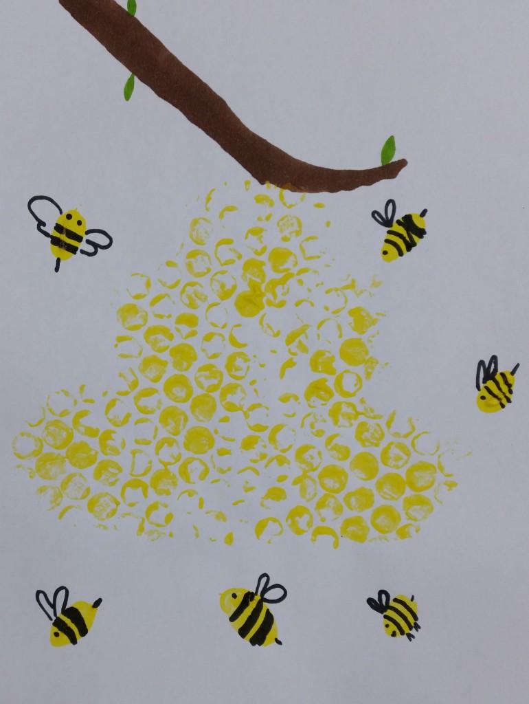 bienenstock und bienen malen  basteln mit kindern