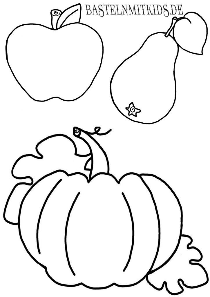 Birne, Apfel, Kürbis Malvorlage