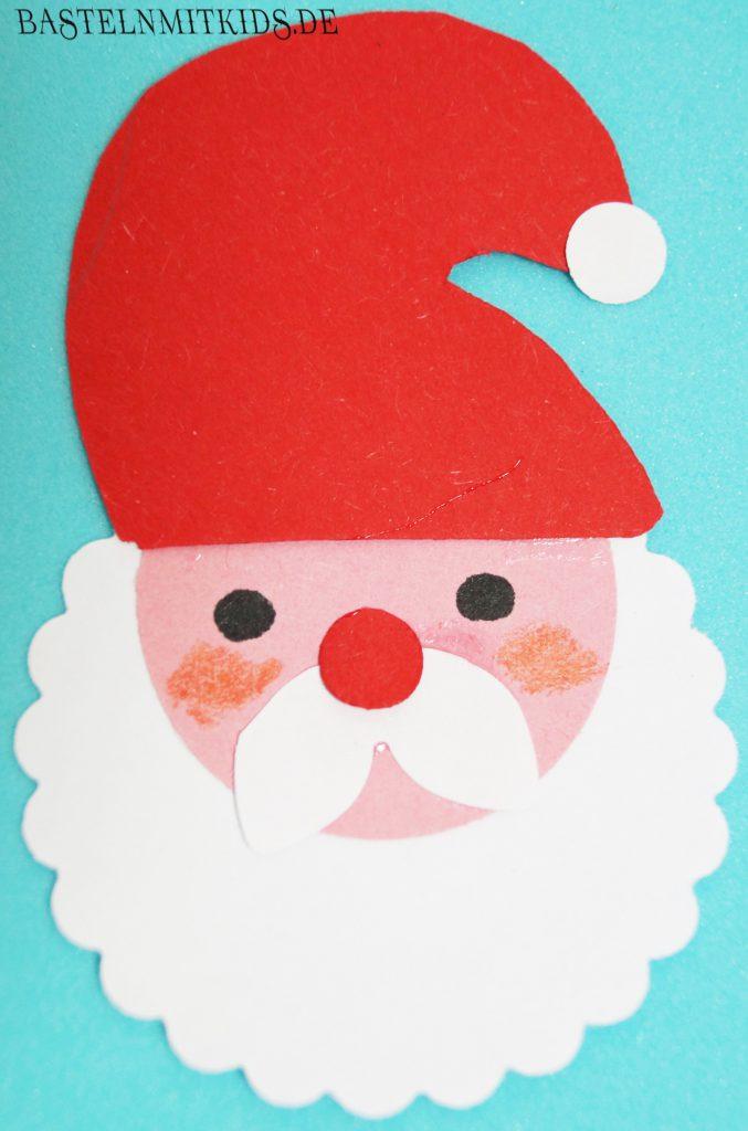 basteln mit kindern weihnachtsmann vorlage f r weihnachtskarten. Black Bedroom Furniture Sets. Home Design Ideas