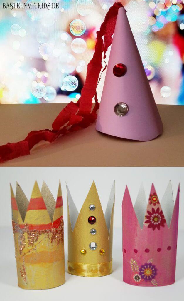 Super Eine Krone oder einen Party-Hut schnell mit Kindern basteln AM91