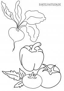 Rote Beete, Paprika, Tomaten Malvorlage