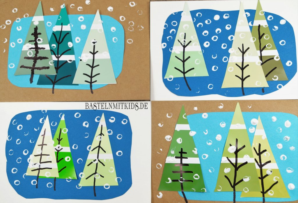 weihnachtskarten basteln mit tannenb umen bastelnmitkids. Black Bedroom Furniture Sets. Home Design Ideas