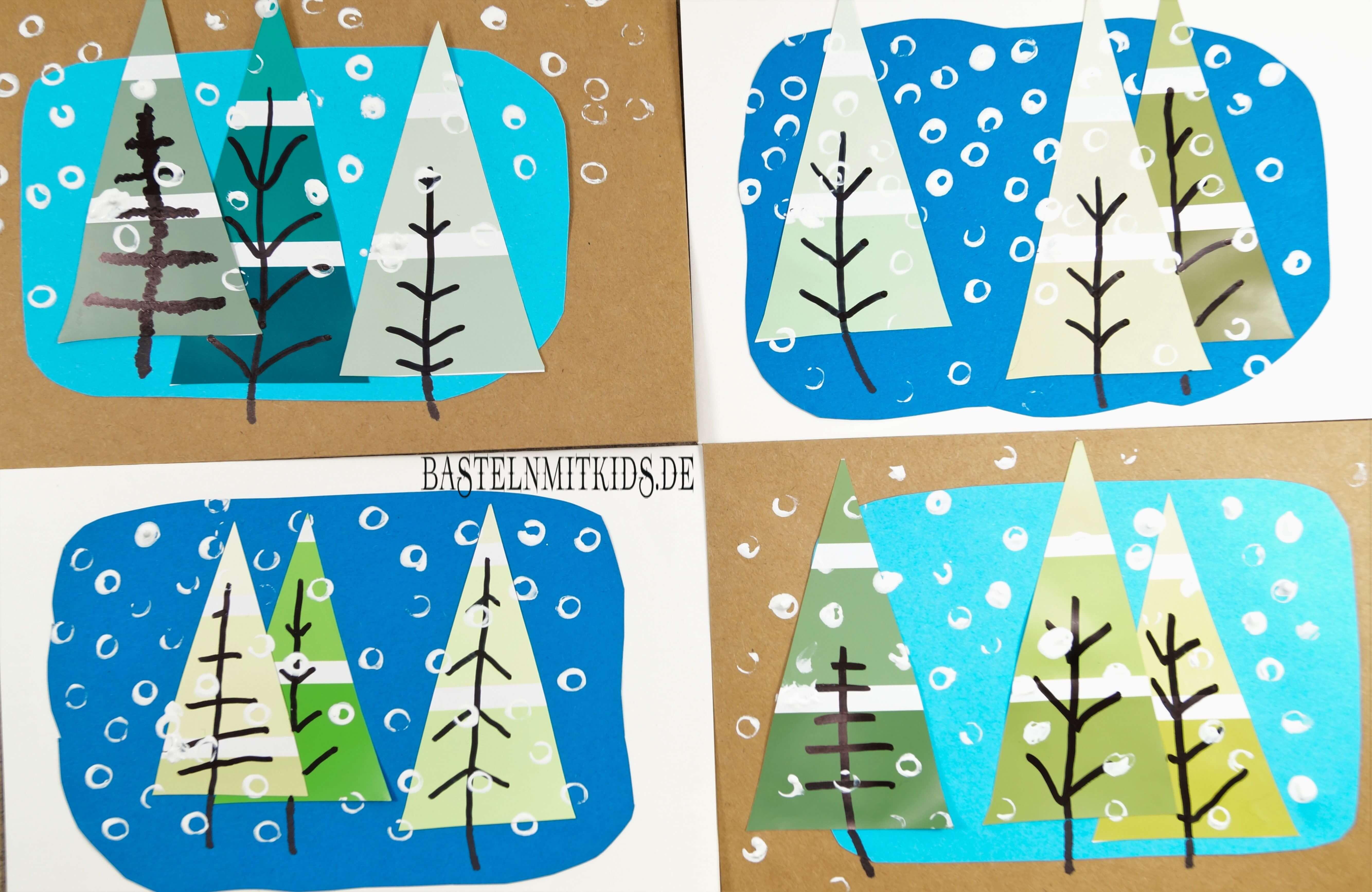 Weihnachtskarten Blanko.Weihnachtskarten Basteln Mit Tannenbäumen Bastelnmitkids