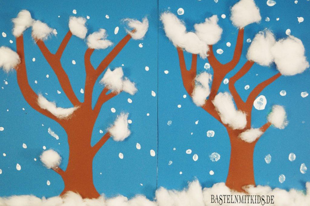 Winterdeko basteln schneetreiben bastelnmitkids - Winter basteln im kindergarten ...