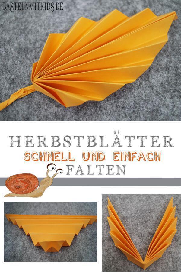 Papier Falten Für Bunte Herbstblätter Basteln Mit Kindern