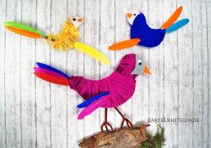Vögel basteln mit wolle